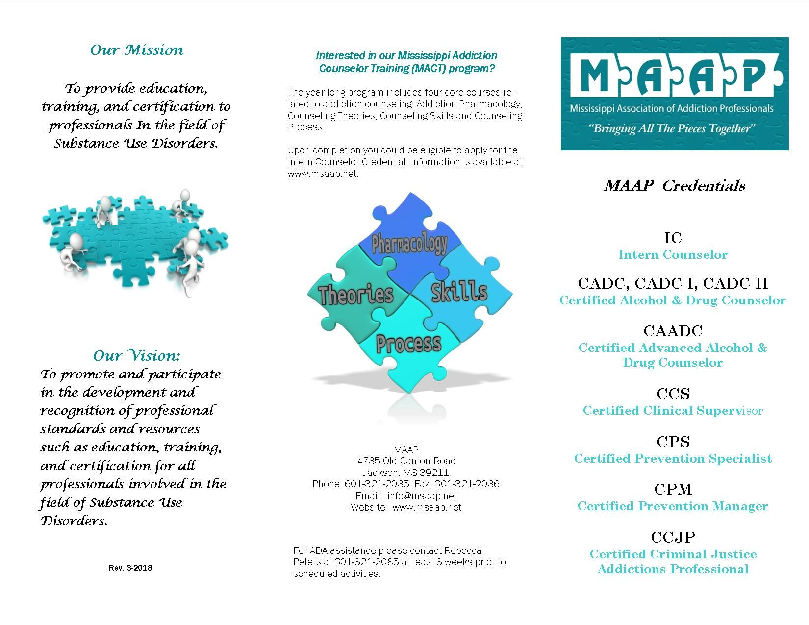 Certification Brochure Mississippi Association Of Addiction